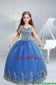 The Most Popular Straps Appliques 2015 Royal Blue Little Girl Pageant Dress