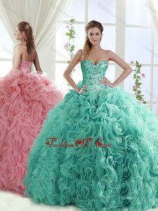 Gorgeous Beaded Brush Train Detachable Quinceanera Skirt with Rolling Flower