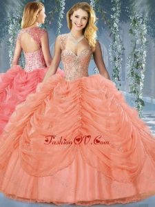Beaded and Bubble Big Puffy Organza Lovely Quinceanera Dress in Orange Red