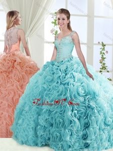 Exclusive See Through Back Beaded Detachable Quinceanera Skirt with Straps