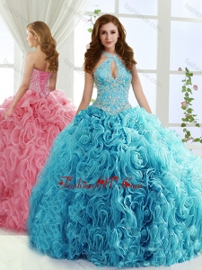 Halter Top Modern Quinceanera Dress with Beading and Appliques