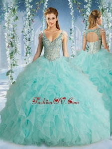 Lovely Beaded Decorated Cap Sleeves Quinceanera Dress with Deep V Neck