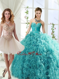 Lovely Big Puffy Rolling Flowers Quinceanera Gowns with Beading and Appliques