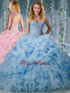 Lovely Brush Train Big Puffy Quinceanera Dress with Beading and Ruffles