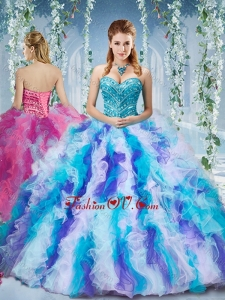 Lovely Rainbow Colored Big Puffy Quinceanera Dress with Beading and Ruffles