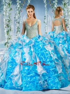 Modern Blue and White Quinceanera Dress in Beaded Decorated Cap Sleeves