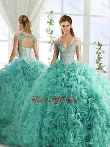 Modern Deep V Neck Mint Detachable Quinceanera Dresses with Beading and Appliques