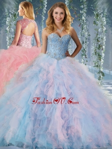 Modern Rainbow Big Puffy Quinceanera Dress with Beading and Ruffles