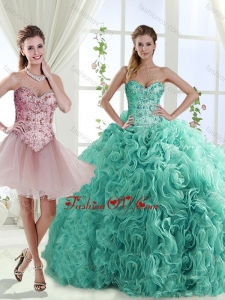 Modern Rolling Flowers Really Puffy Detachable Quinceanera Dresses with Beading