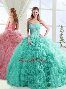 New style Boning Beaded and Applique Quinceanera Dresses in Rolling Flowers