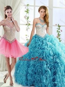 New style Rolling Flowers Detachable Quinceanera Dresses with Brush Train