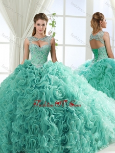 New style Sweetheart Beaded Detachable Quinceanera Dresses with Rolling Flower