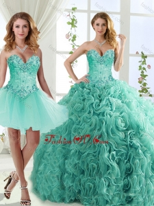 New style Visible Boning Beaded Detachable Quinceanera Gowns in Rolling Flowers