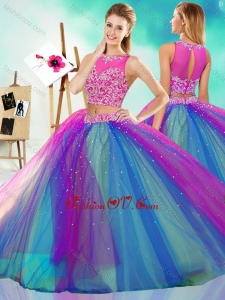 Rainbow Colored Big Puffy Detachable Quinceanera Skirt with See Through