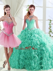 Rolling Flowers Really Puffy Lovely Quinceanera Dresses in with Beading