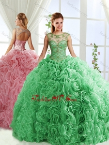 See Through Beaded Scoop Lovely Quinceanera Dresses with Rolling Flower