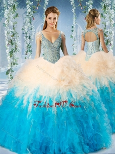 Beaded Decorated Cap Sleeves New style Quinceanera Dress in Blue and Champagne