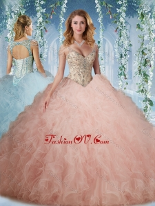 Exclusive Deep V Neck Peach New style Quinceanera Dress With Beading and Ruffles