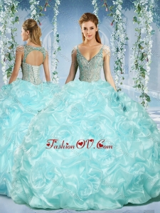 Sleeves Beaded Light Blue New style Quinceanera Dress with Deep V Neck