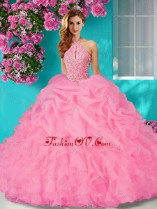 New Style Halter Top Beaded and Ruffled Quinceanera Dress with Brush Train