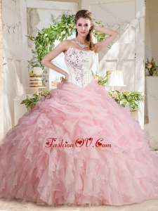 Affordable Asymmetrical Beaded 2016 Quinceanera Dresses with Visible Boning Bubbles and Ruffles