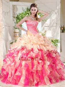 Cheap Big Puffy Colorful 2016 Quinceanera Dresses with Beading and Ruffles