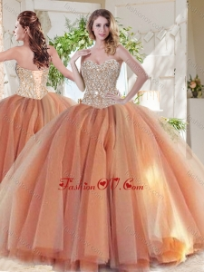 Exclusive Beaded Really Puffy 2016 Quinceanera Dresses in Orange