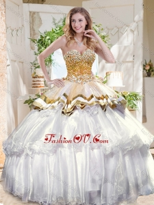 Pretty Big Puffy 2016 Quinceanera Dresses with Beading and Ruffles Layers