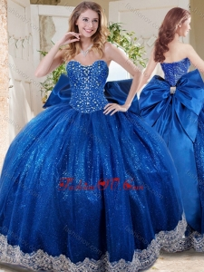Wonderful Beaded and Applique Big Puffy 2016 Quinceanera Dresses with Bowknot
