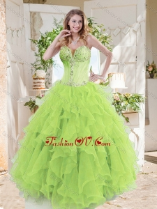A-line Beaded and Ruffed Best Quinceanera Dresses in Spring Green