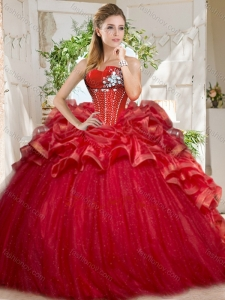 Discount Tulle Beaded and Ruffled 2016 Quinceanera Dresses in Red