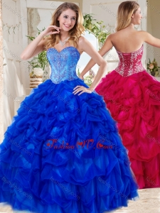 Exclusive Blue Big Puffy Best Quinceanera Dresses with Beading and Pick Ups