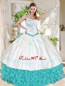 Exclusive Ruffled and Beaded Asymmetrical Best Quinceanera Dresses with White and Aqua Blue