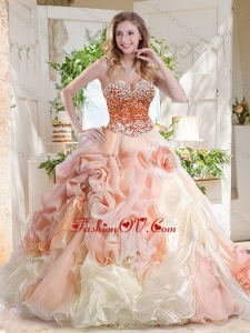 Fashionable Beaded and Bubble Best Quinceanera Dresses in Peach and White