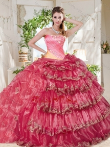 Gorgeous Beaded and Ruffled Big Puffy Best Quinceanera Dresses in Rainbow