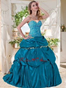 Lovely A Line Brush Train Taffeta Modern Quinceanera Dresses with Beading and Bubbles