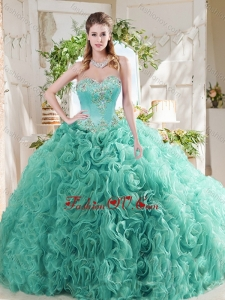 Luxurious Rolling Flower Big Puffy Mint 2016 Quinceanera Dresses with Beading