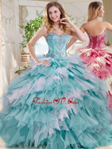 Popular Beaded and Ruffled Big Puffy 2016 Quinceanera Dresses in Blue and White