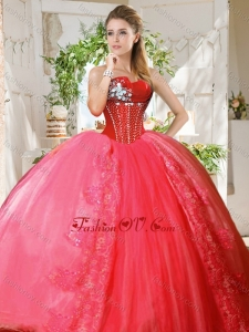 Romantic Puffy Skirt Beaded and Applique 2016 Quinceanera Dresses in Coral Red