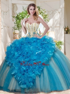 Visible Boning Really Puffy 2016 Quinceanera Dresses with Ruffles and Beading
