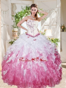 Wonderful Asymmetrical Big Puffy Lovely Quinceanera Dresses with Beading and Ruffles