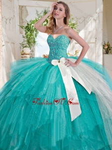 Wonderful Turquoise Big Puffy 2016 Quinceanera Dresses with Beading and White Bowknot