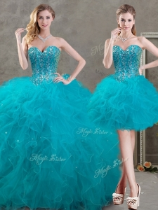 New Arrivals Beaded and Ruffled Teal Detachable Quinceanera Dresses in Organza
