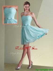 Beautiful Strapless Chiffon Short Bridesmaid Dress with Belt and Ruching