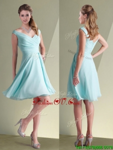 Lovely Chiffon Off the Shoulder Aqua Blue Dama Dress with Ruching