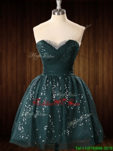 Cheap Beaded Top Dark Green Short Prom Dress in Organza