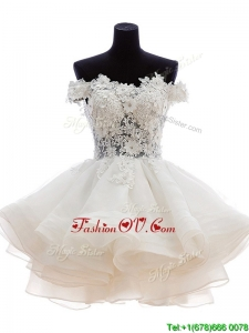 Classical Off the Shoulder White Prom Dress with Appliques