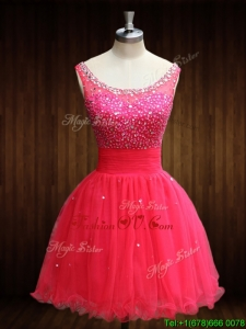 Elegant Beaded Bodice Open Back Organza Prom Dress in Coral Red