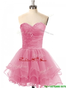 Exclusive Lace Up Organza Short Prom Dress with Beading