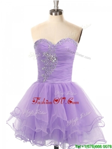 Hot Sale Organza Lace Up Beaded Prom Dress in Lavender